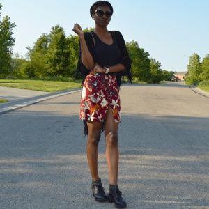 Dresses & Skirts - Burgundy Floral Button Up Skirt
